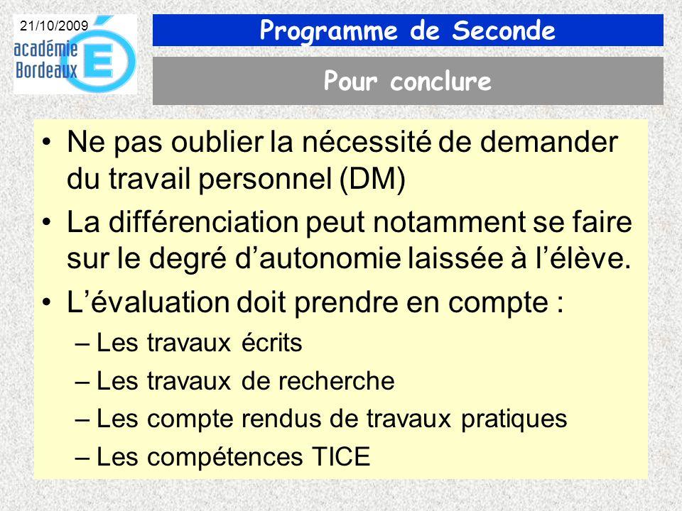 Programme de Seconde 21/10/2009 Pour conclure Ne pas oublier la nécessité de demander du travail personnel (DM) La différenciation peut notamment se faire sur le degré dautonomie laissée à lélève.