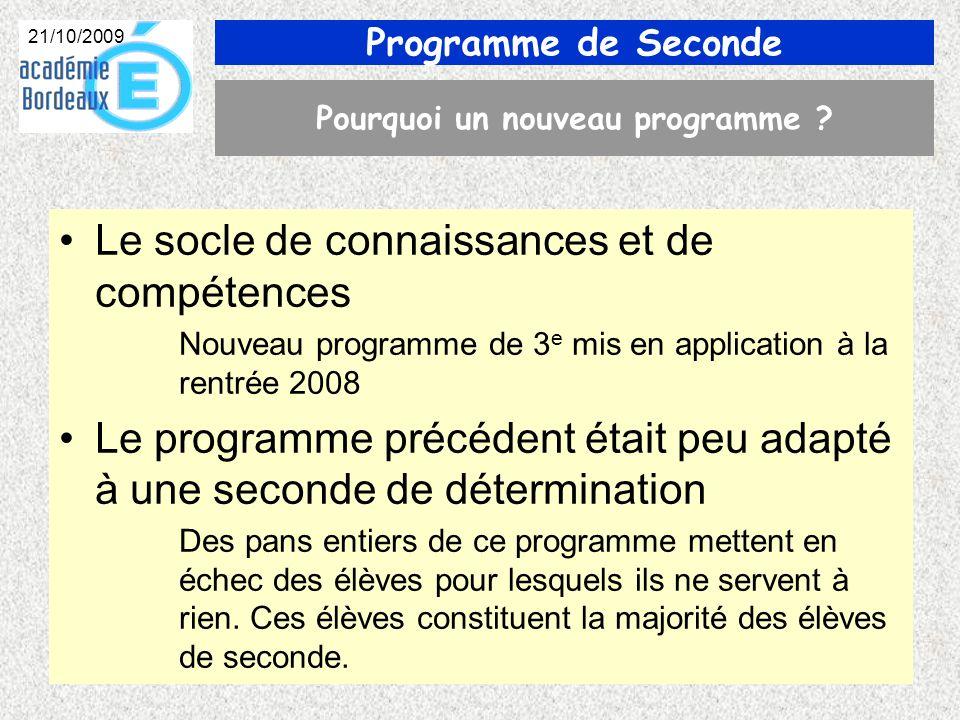 Programme de Seconde 21/10/2009 Pourquoi un nouveau programme .