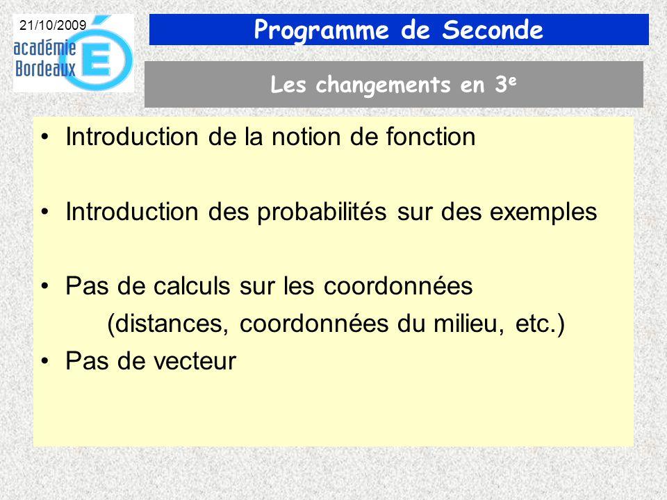Programme de Seconde 21/10/2009 Les changements en 3 e Introduction de la notion de fonction Introduction des probabilités sur des exemples Pas de calculs sur les coordonnées (distances, coordonnées du milieu, etc.) Pas de vecteur
