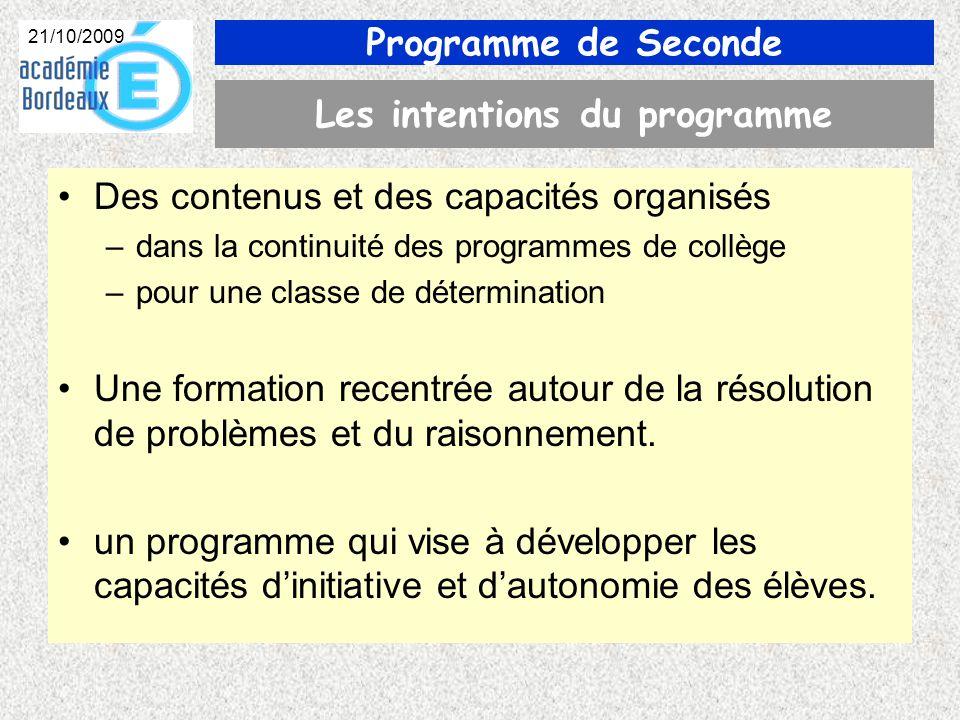 Programme de Seconde 21/10/2009 ALGORITHMIQUE Remarques : –Il ny pas lieu de faire un cours dalgorithmique –Il faut être modeste .
