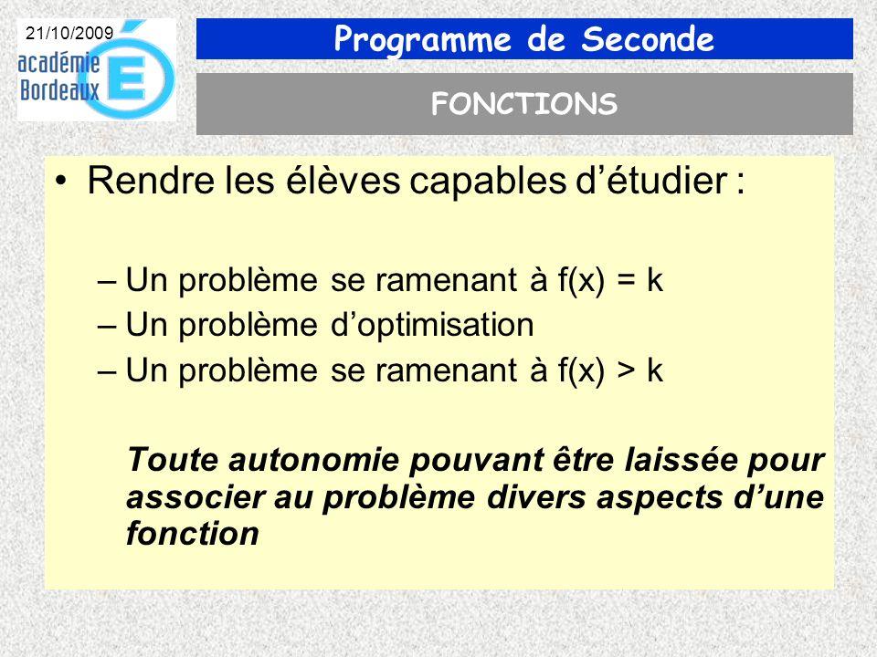 Programme de Seconde 21/10/2009 FONCTIONS Rendre les élèves capables détudier : –Un problème se ramenant à f(x) = k –Un problème doptimisation –Un problème se ramenant à f(x) > k Toute autonomie pouvant être laissée pour associer au problème divers aspects dune fonction