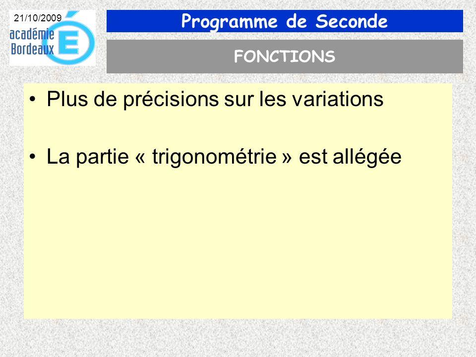 Programme de Seconde 21/10/2009 FONCTIONS Plus de précisions sur les variations La partie « trigonométrie » est allégée