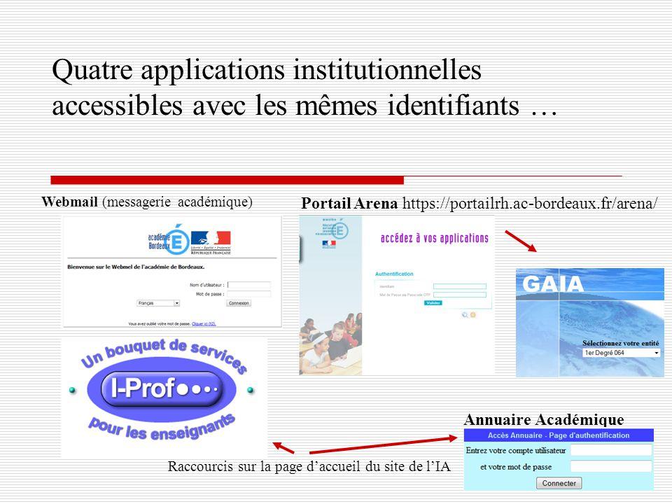Quatre applications institutionnelles accessibles avec les mêmes identifiants … Webmail (messagerie académique) Raccourcis sur la page daccueil du sit