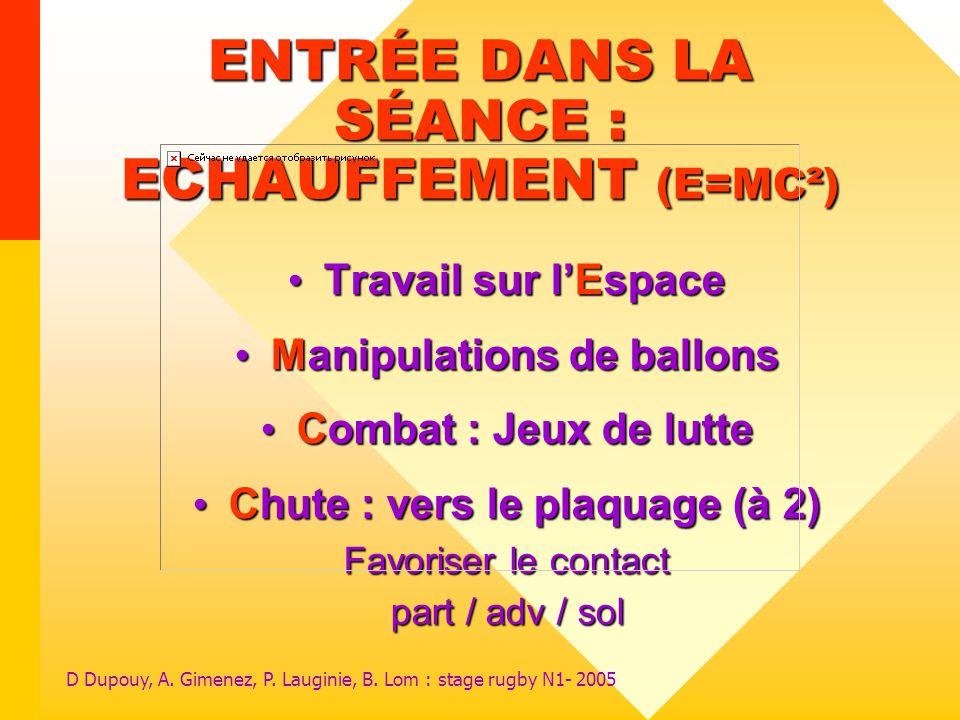 D Dupouy, A. Gimenez, P. Lauginie, B. Lom : stage rugby N1- 2005 ENTRÉE DANS LA SÉANCE : ECHAUFFEMENT (E=MC²) Travail sur lEspace Travail sur lEspace