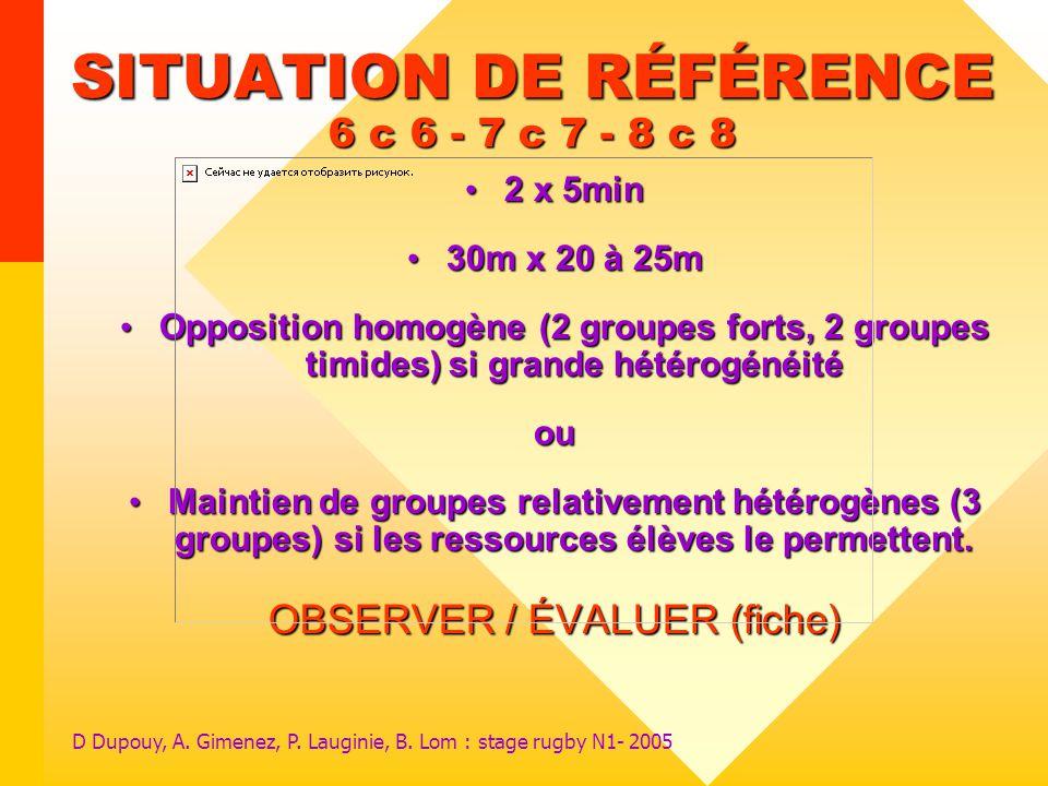 D Dupouy, A. Gimenez, P. Lauginie, B. Lom : stage rugby N1- 2005 SITUATION DE RÉFÉRENCE 6 c 6 - 7 c 7 - 8 c 8 2 x 5min 2 x 5min 30m x 20 à 25m 30m x 2