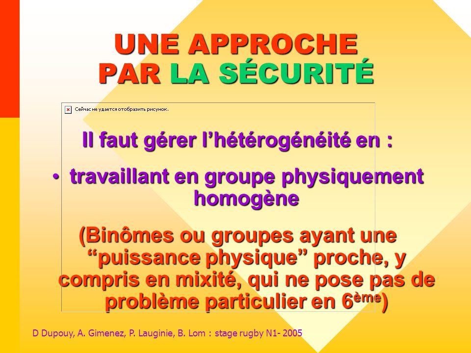 D Dupouy, A. Gimenez, P. Lauginie, B. Lom : stage rugby N1- 2005 UNE APPROCHE PAR LA SÉCURITÉ Il faut gérer lhétérogénéité en : travaillant en groupe