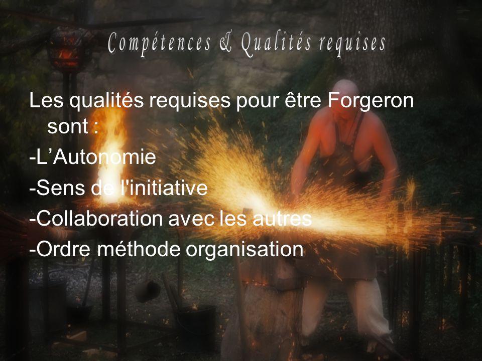 Les qualités requises pour être Forgeron sont : -LAutonomie -Sens de l'initiative -Collaboration avec les autres -Ordre méthode organisation