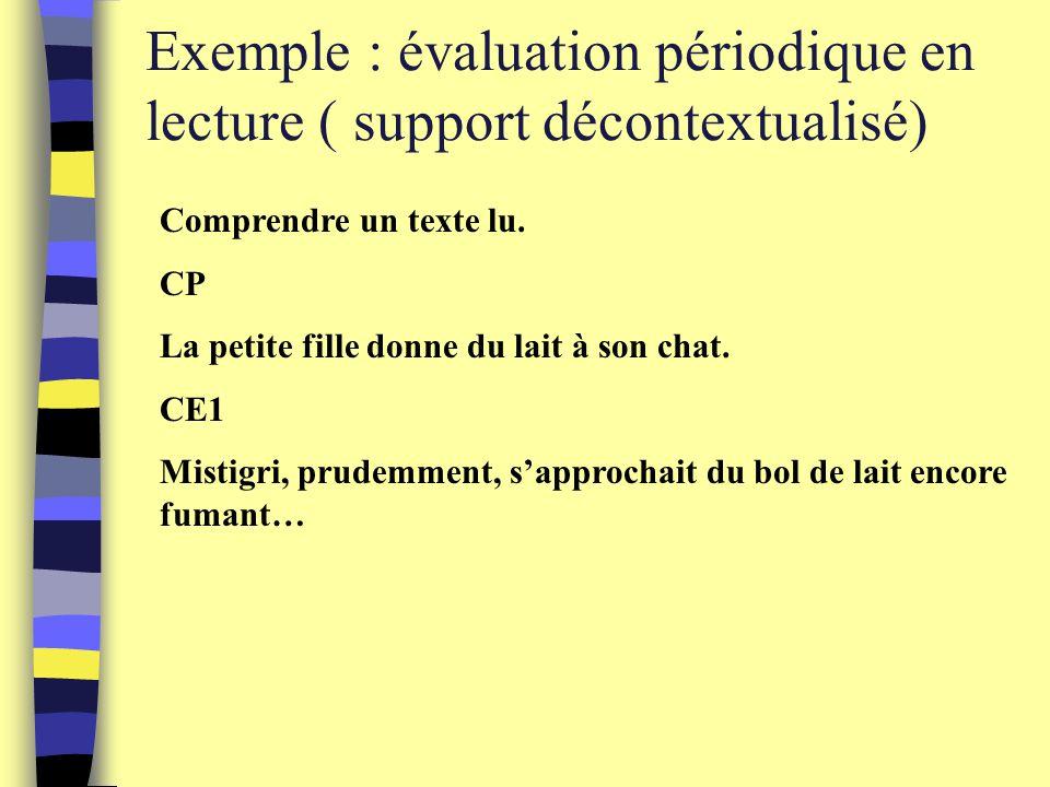 Exemple : évaluation périodique en lecture ( support décontextualisé) Comprendre un texte lu.