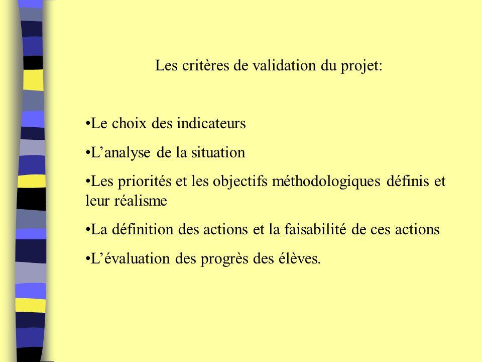 Les critères de validation du projet: Le choix des indicateurs Lanalyse de la situation Les priorités et les objectifs méthodologiques définis et leur réalisme La définition des actions et la faisabilité de ces actions Lévaluation des progrès des élèves.