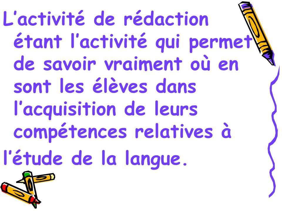 Lactivité de rédaction étant lactivité qui permet de savoir vraiment où en sont les élèves dans lacquisition de leurs compétences relatives à létude de la langue.