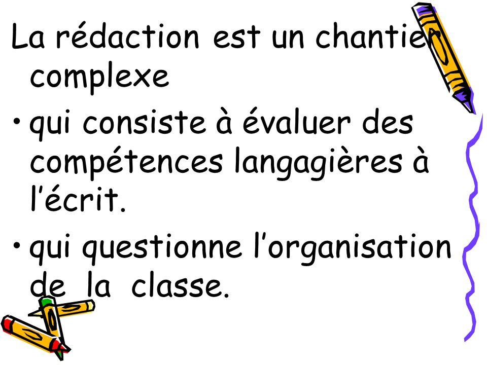 La rédaction est un chantier complexe qui consiste à évaluer des compétences langagières à lécrit. qui questionne lorganisation de la classe.