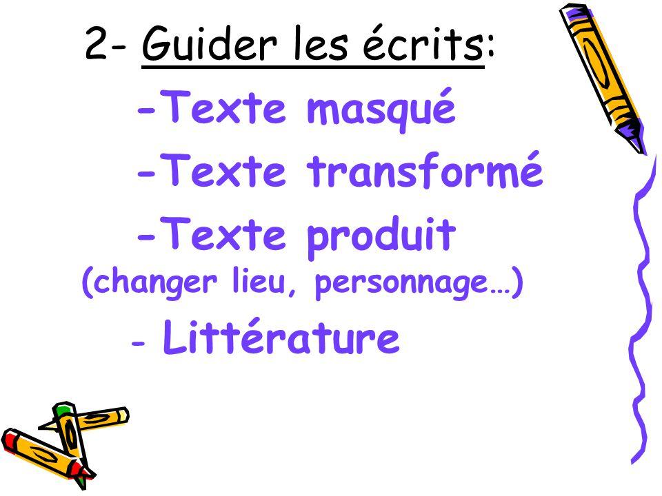 2- Guider les écrits: -Texte masqué -Texte transformé -Texte produit (changer lieu, personnage…) - Littérature