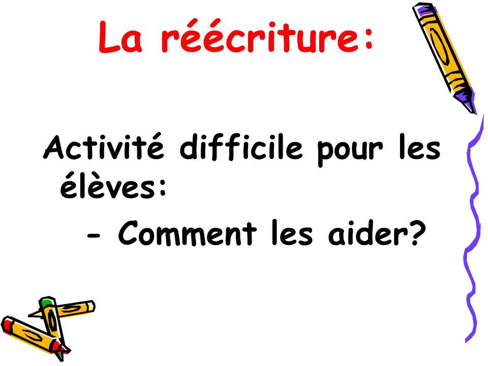 La réécriture: Activité difficile pour les élèves: - Comment les aider?