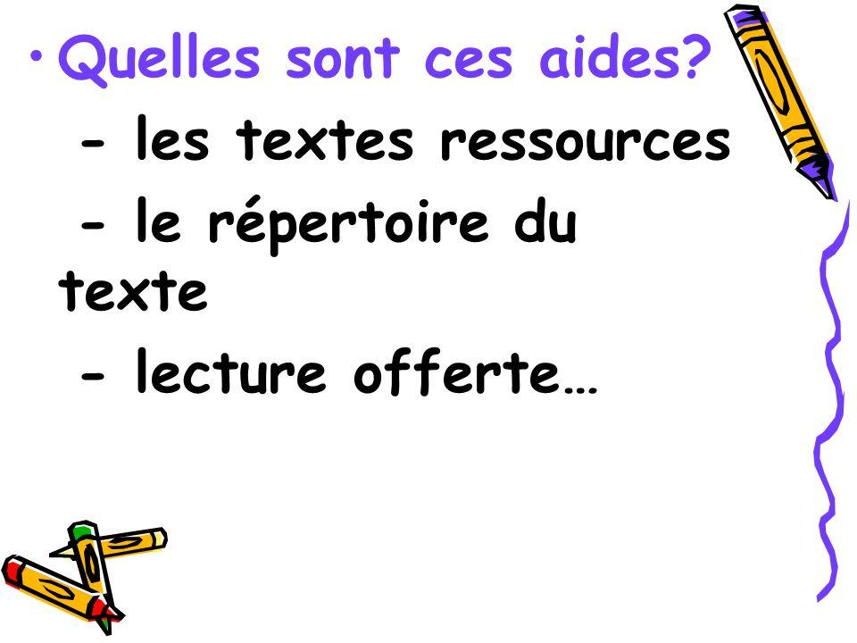 Quelles sont ces aides? - les textes ressources - le répertoire du texte - lecture offerte…