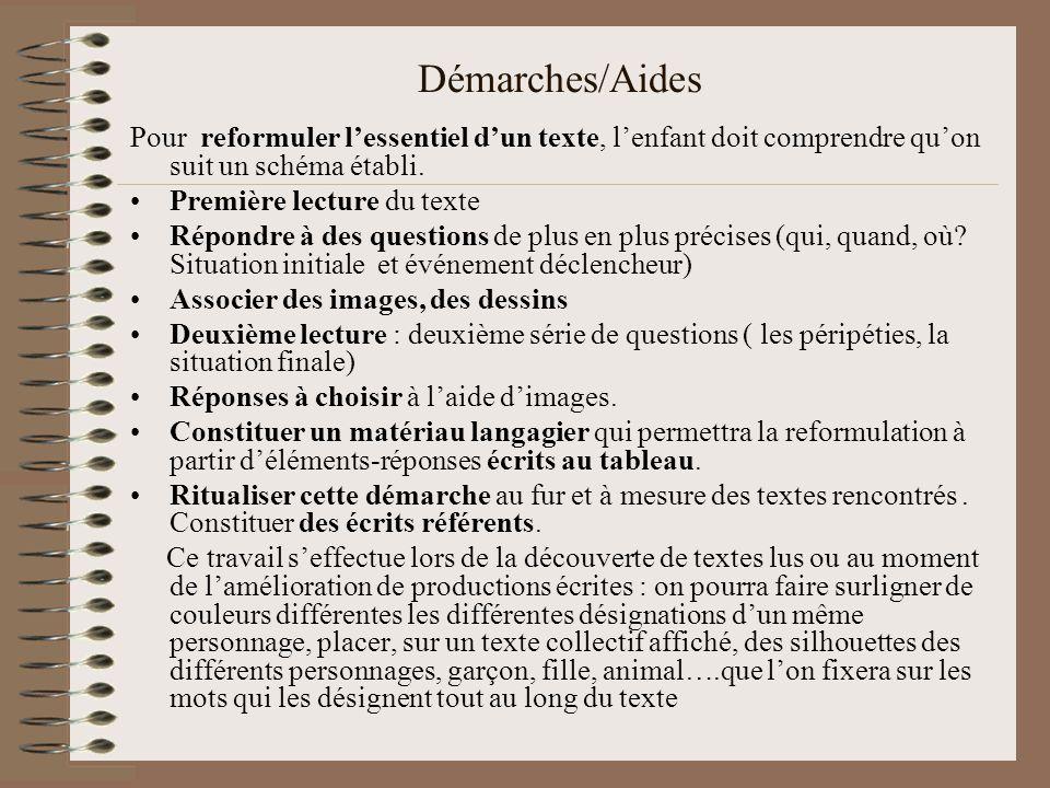 Démarches/Aides Pour reformuler lessentiel dun texte, lenfant doit comprendre quon suit un schéma établi.