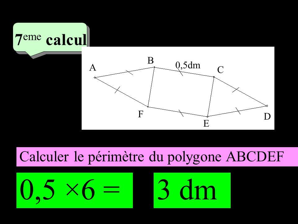 4 eme calcul 4 eme calcul 7 eme calcul Calculer le périmètre du polygone ABCDEF A B C D E F 0,5dm 0,5 ×6 =3 dm