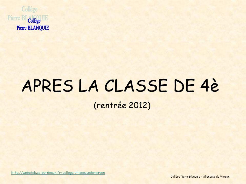 Collège Pierre Blanquie – Villeneuve de Marsan APRES LA CLASSE DE 4è (rentrée 2012) http://webetab.ac-bordeaux.fr/college-villeneuvedemarsan