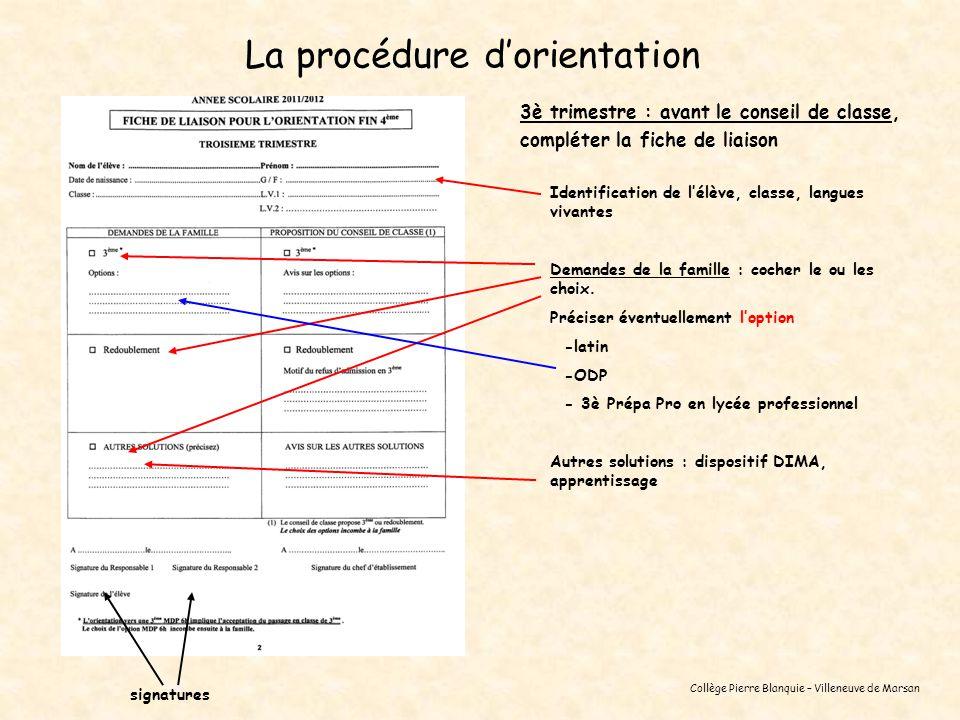 Collège Pierre Blanquie – Villeneuve de Marsan La procédure dorientation 3è trimestre : avant le conseil de classe, compléter la fiche de liaison Iden