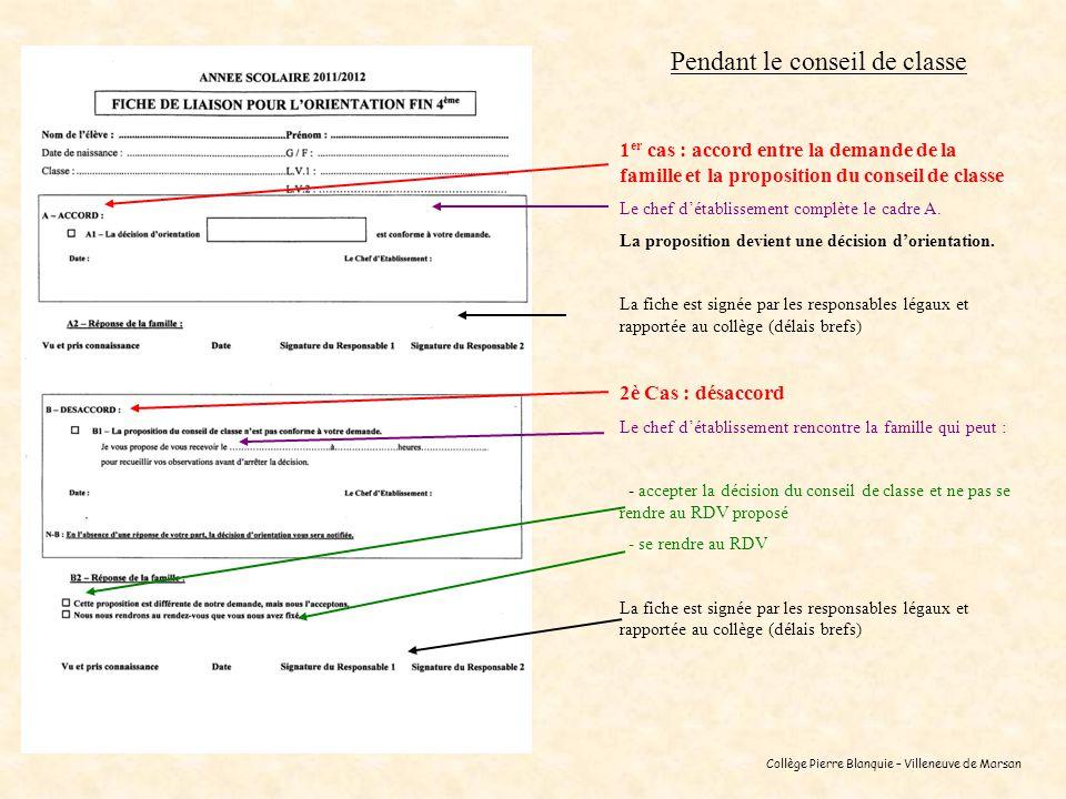 Collège Pierre Blanquie – Villeneuve de Marsan Pendant le conseil de classe 1 er cas : accord entre la demande de la famille et la proposition du cons