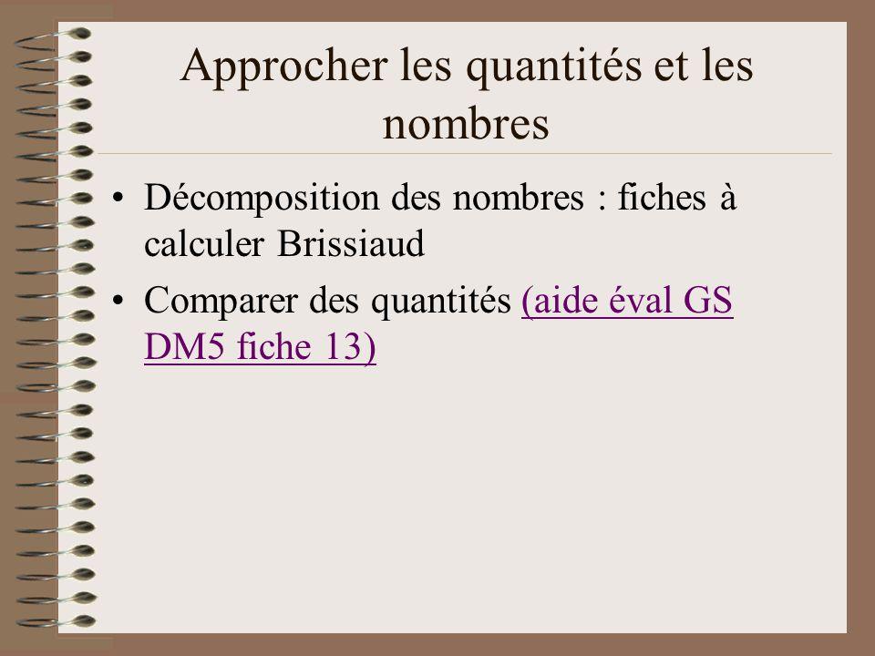 Approcher les quantités et les nombres Décomposition des nombres : fiches à calculer Brissiaud Comparer des quantités (aide éval GS DM5 fiche 13)(aide
