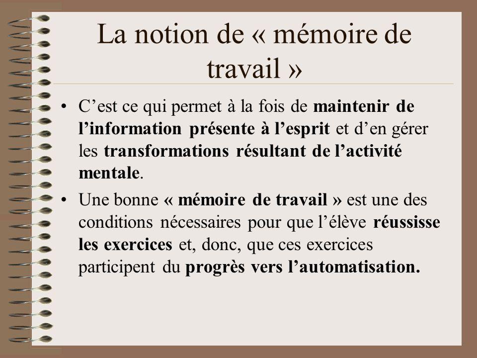 La notion de « mémoire de travail » Cest ce qui permet à la fois de maintenir de linformation présente à lesprit et den gérer les transformations résu