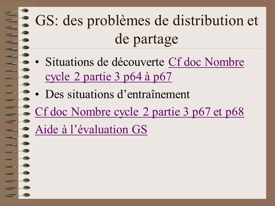 GS: des problèmes de distribution et de partage Situations de découverte Cf doc Nombre cycle 2 partie 3 p64 à p67Cf doc Nombre cycle 2 partie 3 p64 à
