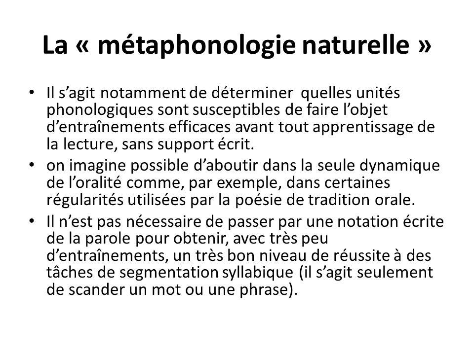 La « métaphonologie naturelle » La rime est, elle aussi, une unité naturelle comme en témoigne linvention de la poésie avant celle de lécriture, mais aussi la réussite des enfants dans des tâches de production de rimes dès 5 ans.