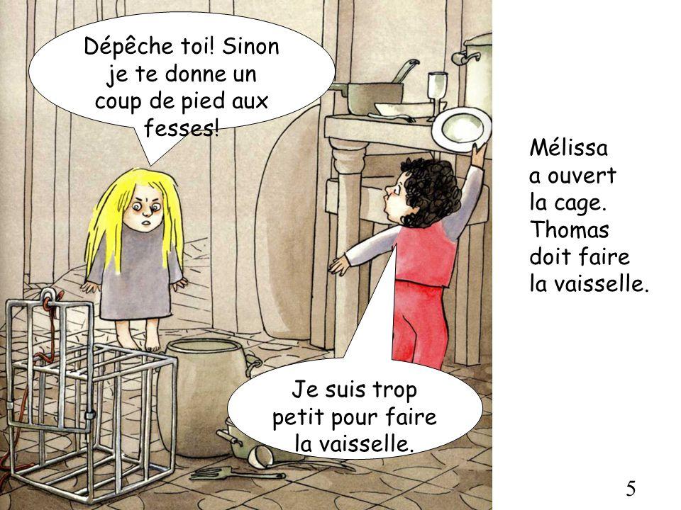 5 Mélissa a ouvert la cage. Thomas doit faire la vaisselle. Dépêche toi! Sinon je te donne un coup de pied aux fesses! Je suis trop petit pour faire l