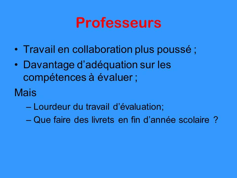 Professeurs Travail en collaboration plus poussé ; Davantage dadéquation sur les compétences à évaluer ; Mais –Lourdeur du travail dévaluation; –Que f