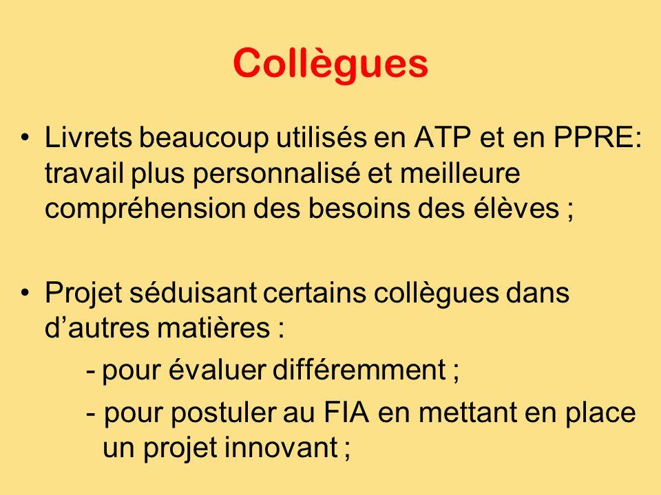 Collègues Livrets beaucoup utilisés en ATP et en PPRE: travail plus personnalisé et meilleure compréhension des besoins des élèves ; Projet séduisant
