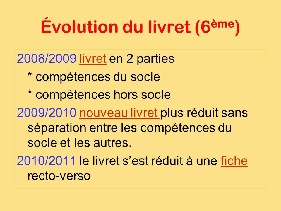Évolution du livret (6 ème ) 2008/2009 livret en 2 partieslivret * compétences du socle * compétences hors socle 2009/2010 nouveau livret plus réduit