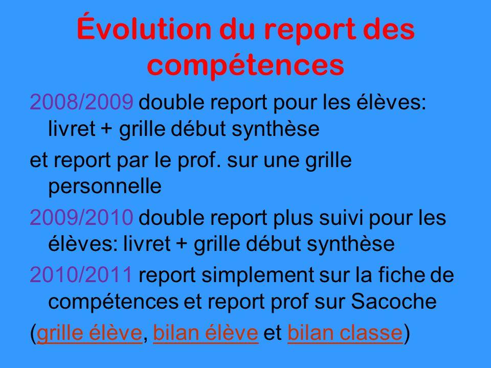Évolution du report des compétences 2008/2009 double report pour les élèves: livret + grille début synthèse et report par le prof. sur une grille pers