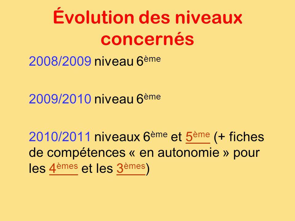 Évolution des niveaux concernés 2008/2009 niveau 6 ème 2009/2010 niveau 6 ème 2010/2011 niveaux 6 ème et 5 ème (+ fiches de compétences « en autonomie