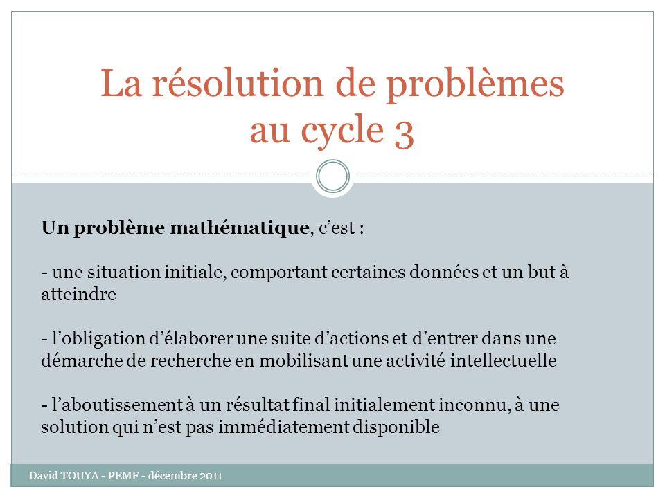 La résolution de problèmes au cycle 3 Un problème mathématique, cest : - une situation initiale, comportant certaines données et un but à atteindre -
