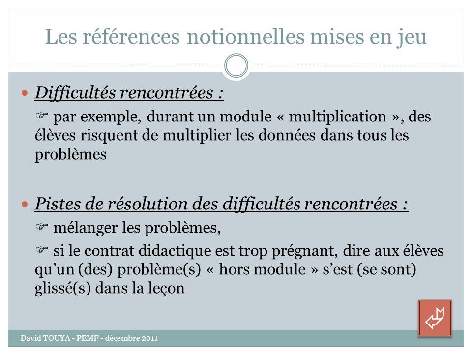 Les références notionnelles mises en jeu Difficultés rencontrées : par exemple, durant un module « multiplication », des élèves risquent de multiplier