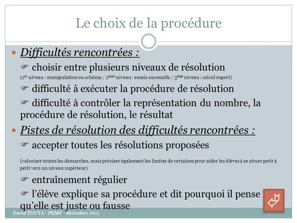 Le choix de la procédure Difficultés rencontrées : choisir entre plusieurs niveaux de résolution (1 er niveau : manipulation ou schéma / 2 ème niveau