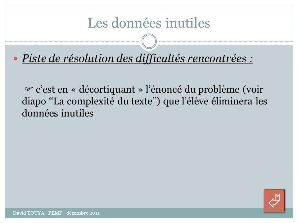 Les données inutiles Piste de résolution des difficultés rencontrées : cest en « décortiquant » lénoncé du problème (voir diapo La complexité du texte