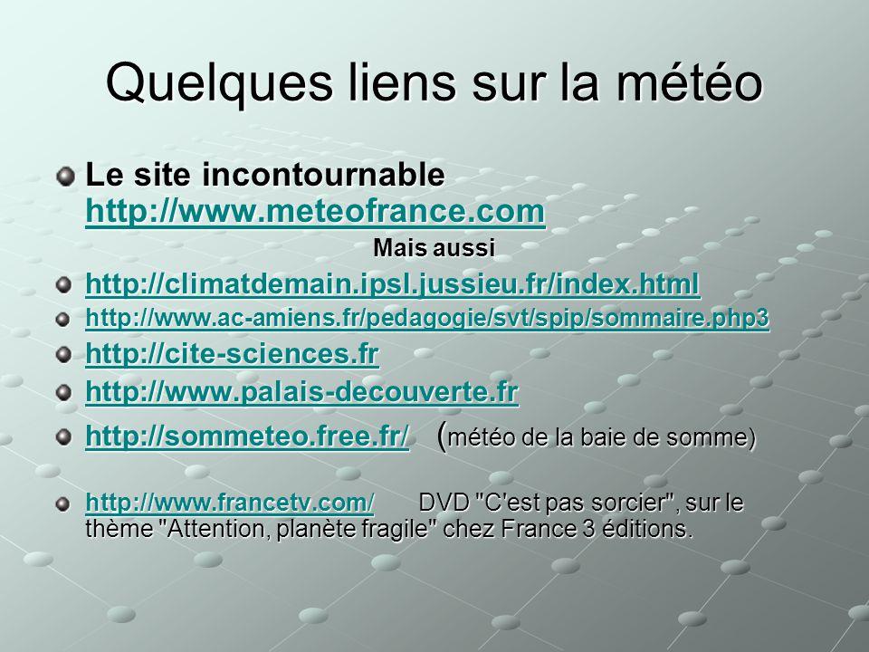 Quelques liens sur la météo Le site incontournable http://www.meteofrance.com http://www.meteofrance.com Mais aussi http://climatdemain.ipsl.jussieu.f