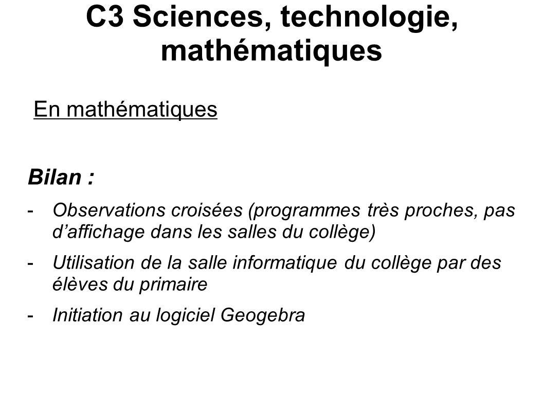 C3 Sciences, technologie, mathématiques En mathématiques Bilan : -Observations croisées (programmes très proches, pas daffichage dans les salles du co