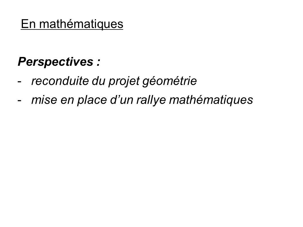 En mathématiques Perspectives : -reconduite du projet géométrie -mise en place dun rallye mathématiques
