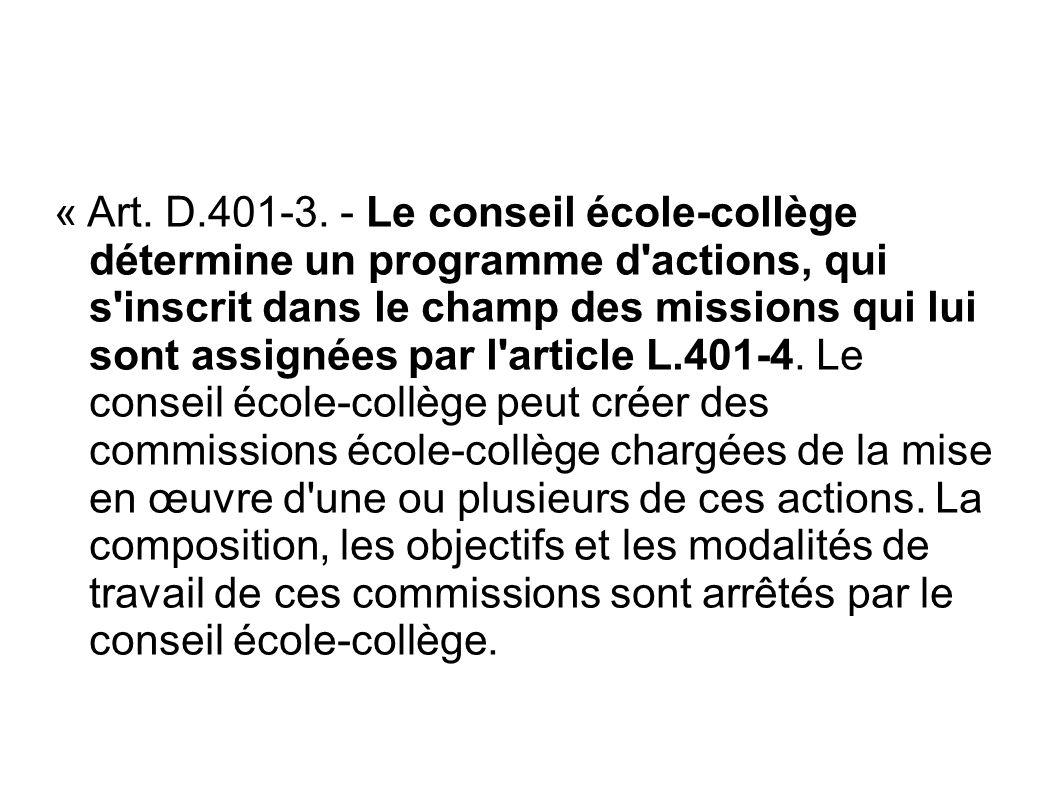 « Art. D.401-3. - Le conseil école-collège détermine un programme d'actions, qui s'inscrit dans le champ des missions qui lui sont assignées par l'art