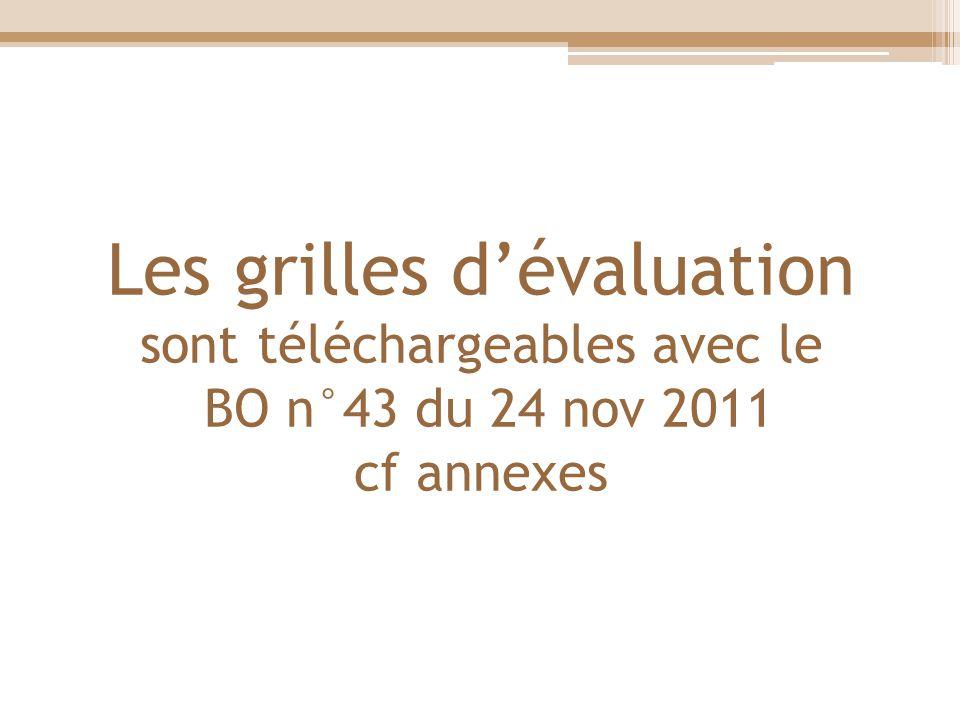 Les grilles dévaluation sont téléchargeables avec le BO n°43 du 24 nov 2011 cf annexes