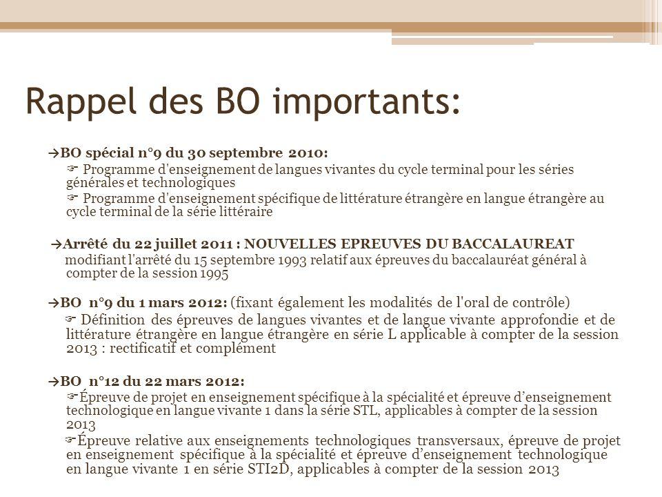 Rappel des BO importants: BO spécial n°9 du 30 septembre 2010: Programme d'enseignement de langues vivantes du cycle terminal pour les séries générale