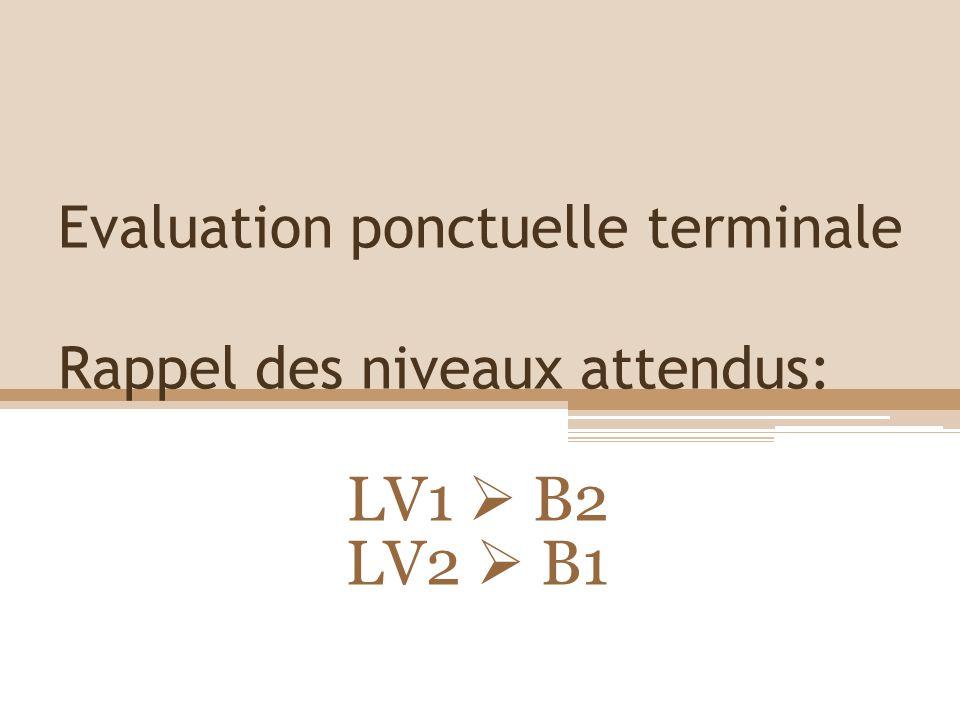 Evaluation ponctuelle terminale Rappel des niveaux attendus: LV1 B2 LV2 B1
