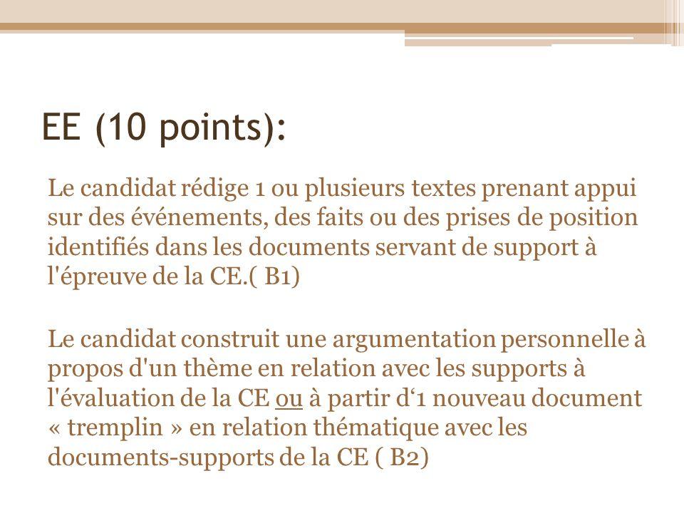 EE (10 points): Le candidat rédige 1 ou plusieurs textes prenant appui sur des événements, des faits ou des prises de position identifiés dans les doc