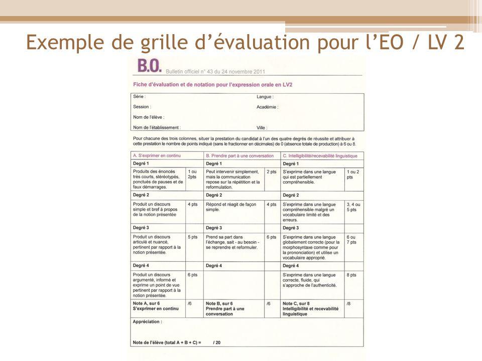 Exemple de grille dévaluation pour lEO / LV 2