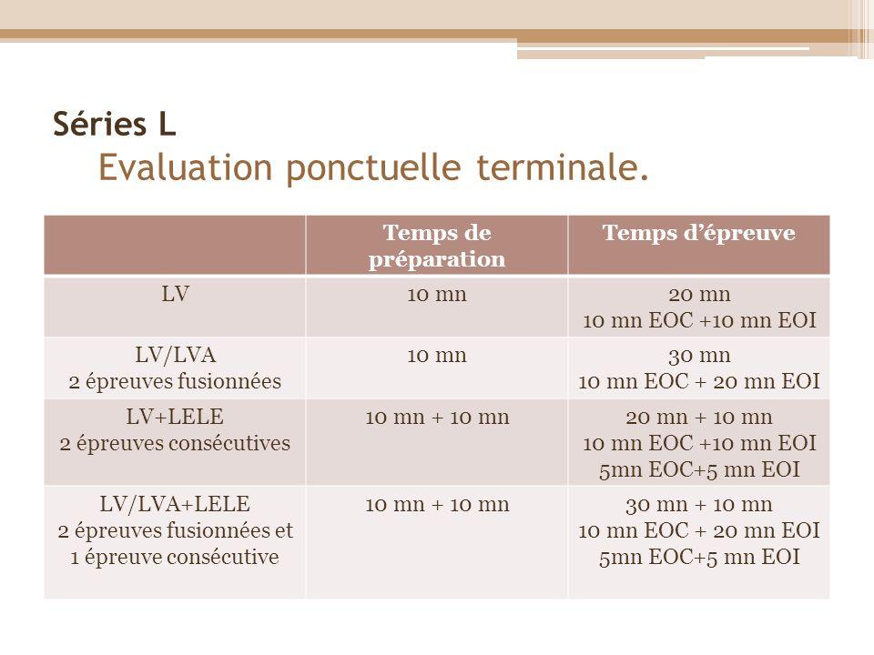 Séries L Evaluation ponctuelle terminale. Temps de préparation Temps dépreuve LV10 mn20 mn 10 mn EOC +10 mn EOI LV/LVA 2 épreuves fusionnées 10 mn30 m