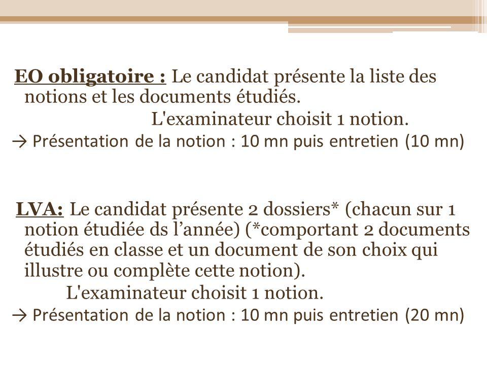 EO obligatoire : Le candidat présente la liste des notions et les documents étudiés. L'examinateur choisit 1 notion. Présentation de la notion : 10 mn