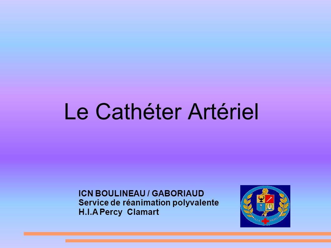 Le Cathéter Artériel ICN BOULINEAU / GABORIAUD Service de réanimation polyvalente H.I.A Percy Clamart