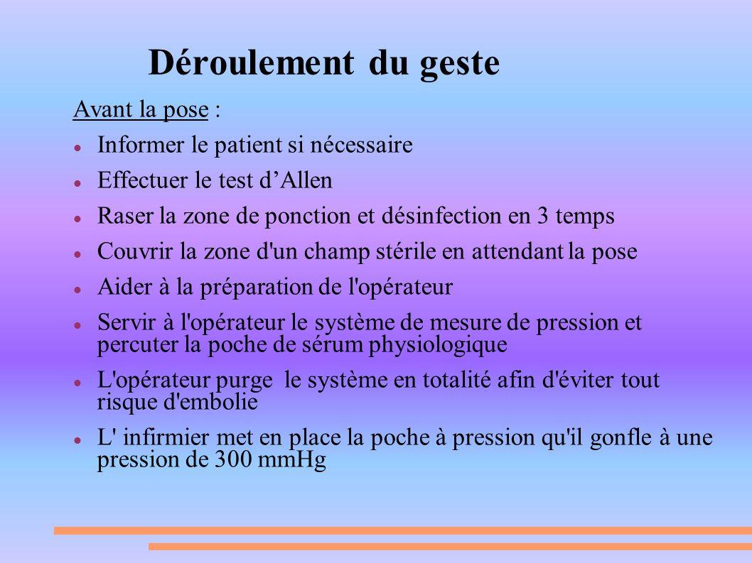 Déroulement du geste Avant la pose : Informer le patient si nécessaire Effectuer le test dAllen Raser la zone de ponction et désinfection en 3 temps C